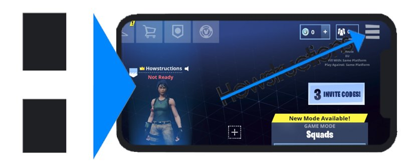 1 first of all you open the fornite mobile app on your ios or android device once you arrive in the lobby tap on the 3 lines in the upper right corner - how do u change your name in fortnite mobile